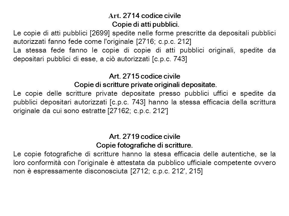 Copie di scritture private originali depositate.
