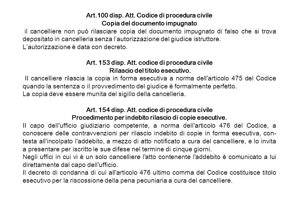 Art.100 disp. Att. Codice di procedura civile