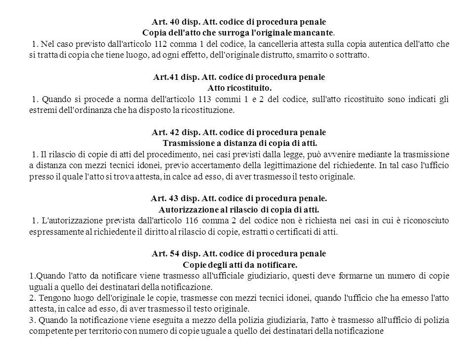 Art. 40 disp. Att. codice di procedura penale
