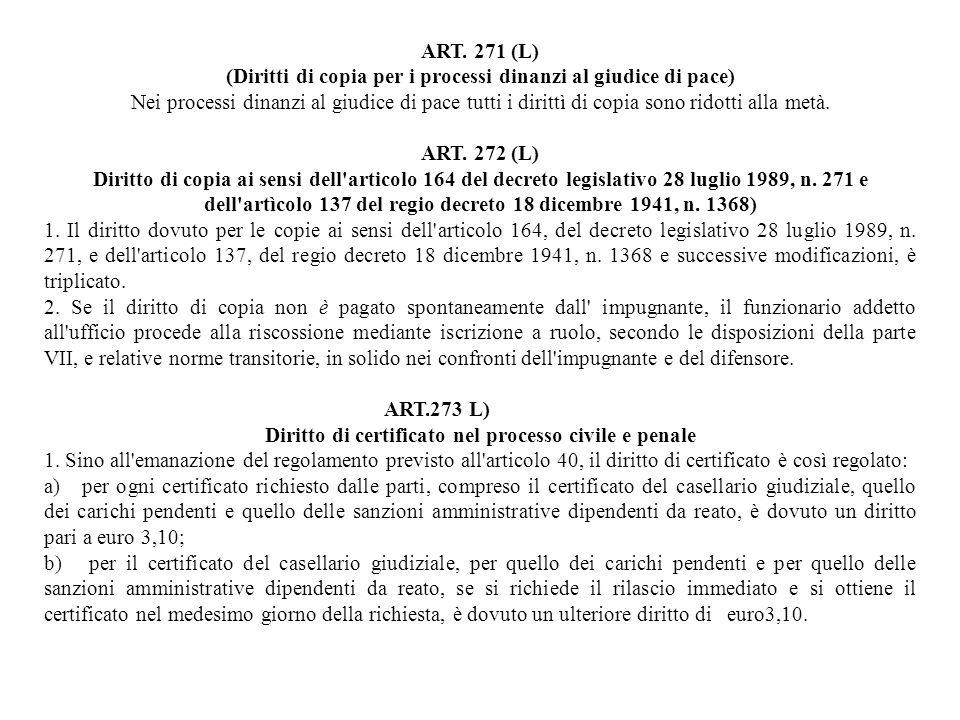 Diritto di certificato nel processo civile e penale