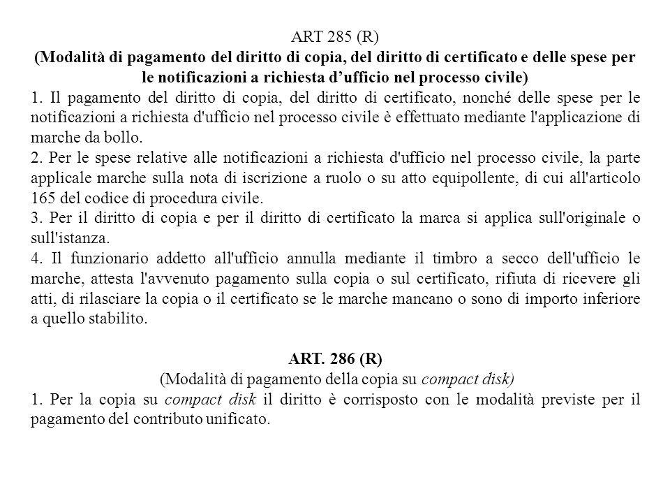 (Modalità di pagamento della copia su compact disk)