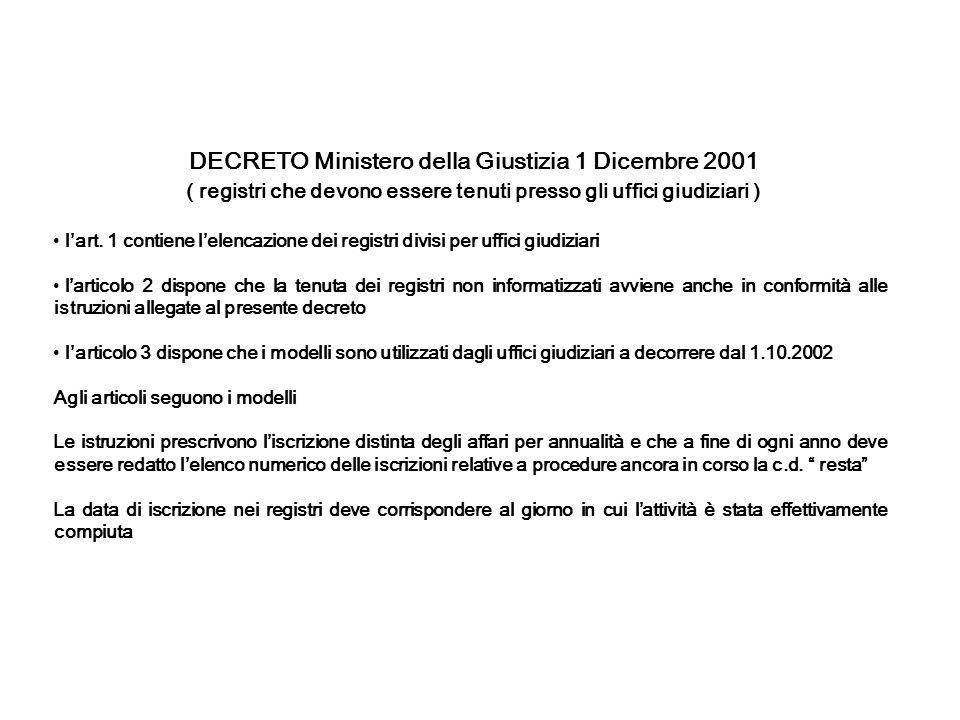DECRETO Ministero della Giustizia 1 Dicembre 2001