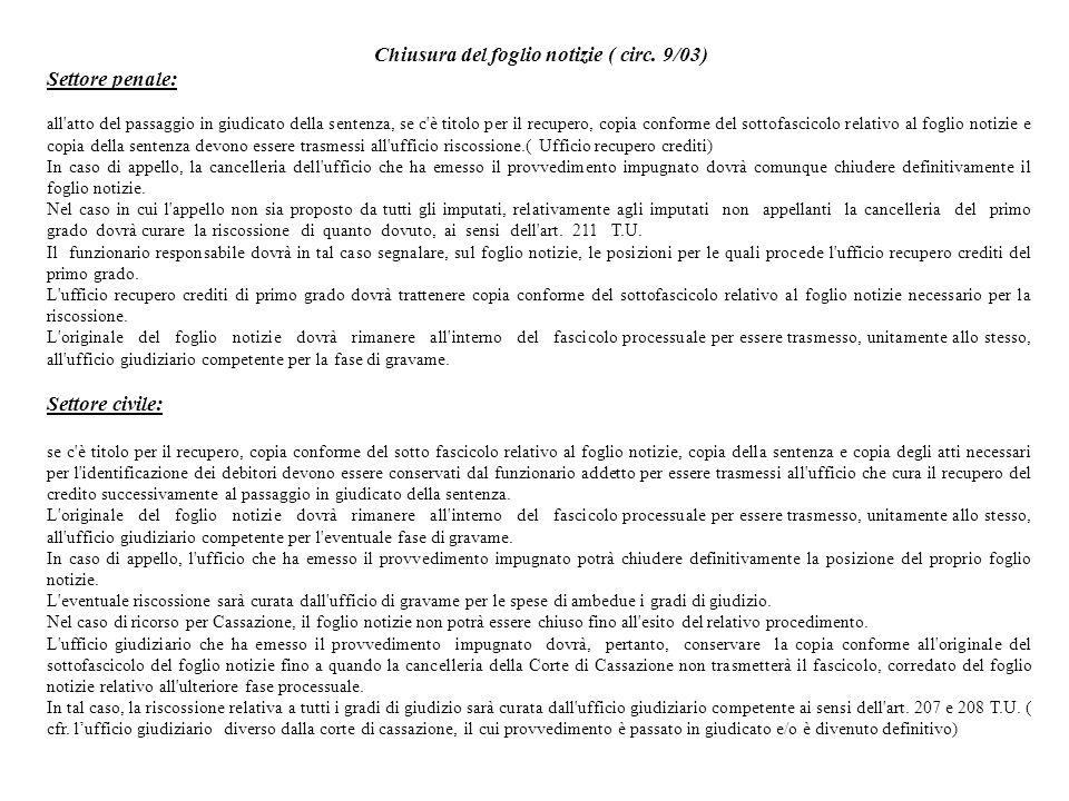 Chiusura del foglio notizie ( circ. 9/03)