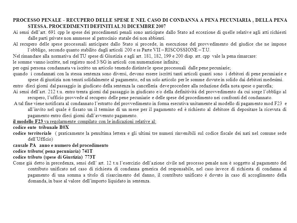 PROCESSO PENALE - RECUPERO DELLE SPESE E NEL CASO DI CONDANNA A PENA PECUNIARIA , DELLA PENA STESSA. PROCEDIMENTI DEFINITI AL 31 DICEMBRE 2007