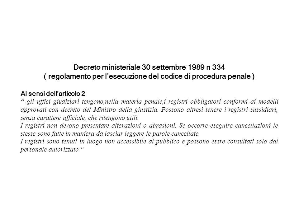 Decreto ministeriale 30 settembre 1989 n 334