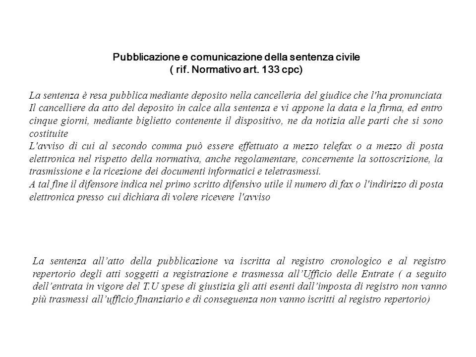 Pubblicazione e comunicazione della sentenza civile