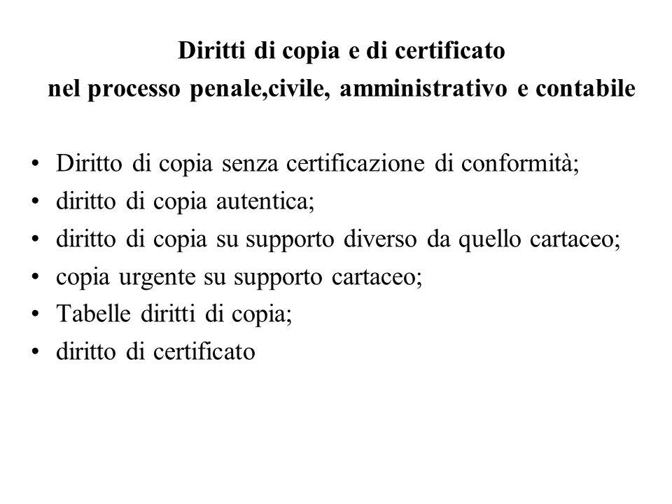 Diritti di copia e di certificato