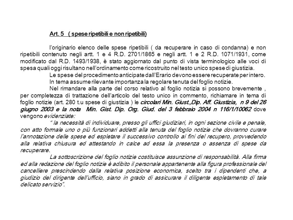 Art. 5 ( spese ripetibili e non ripetibili)