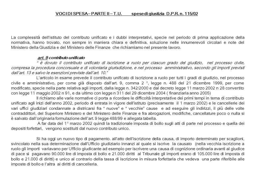 VOCI DI SPESA – PARTE II – T.U. spese di giustizia D.P.R. n. 115/02