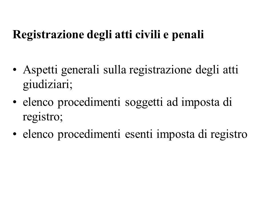 Registrazione degli atti civili e penali