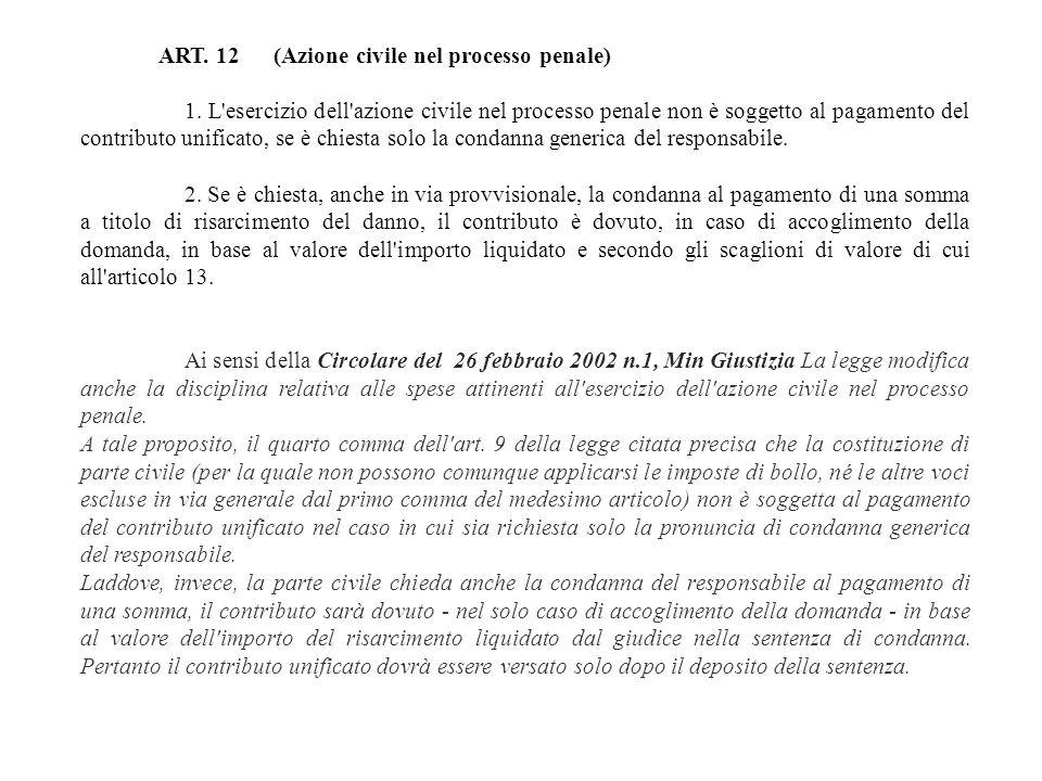 ART. 12 (Azione civile nel processo penale)