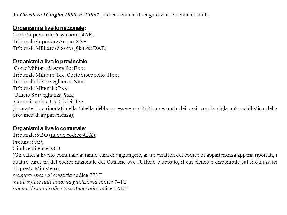 Organismi a livello nazionale: Corte Suprema di Cassazione: 4AE;