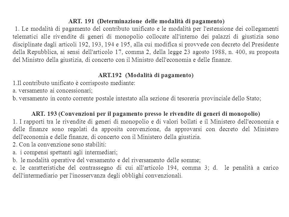 ART.192 (Modalità di pagamento)