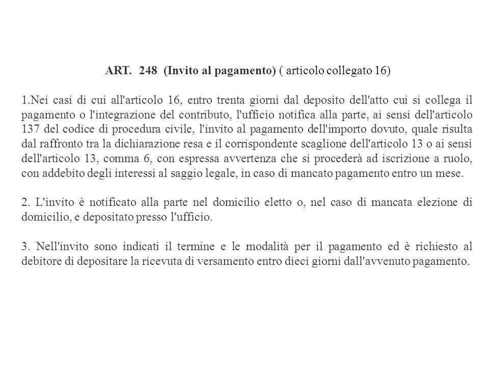 ART. 248 (Invito al pagamento) ( articolo collegato 16)