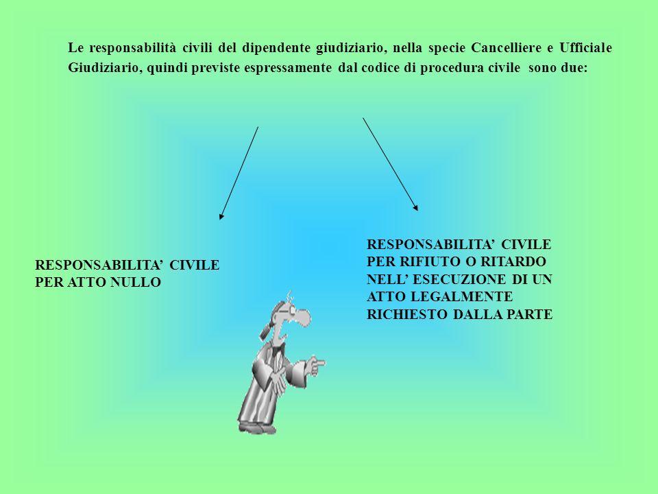 Le responsabilità civili del dipendente giudiziario, nella specie Cancelliere e Ufficiale Giudiziario, quindi previste espressamente dal codice di procedura civile sono due: