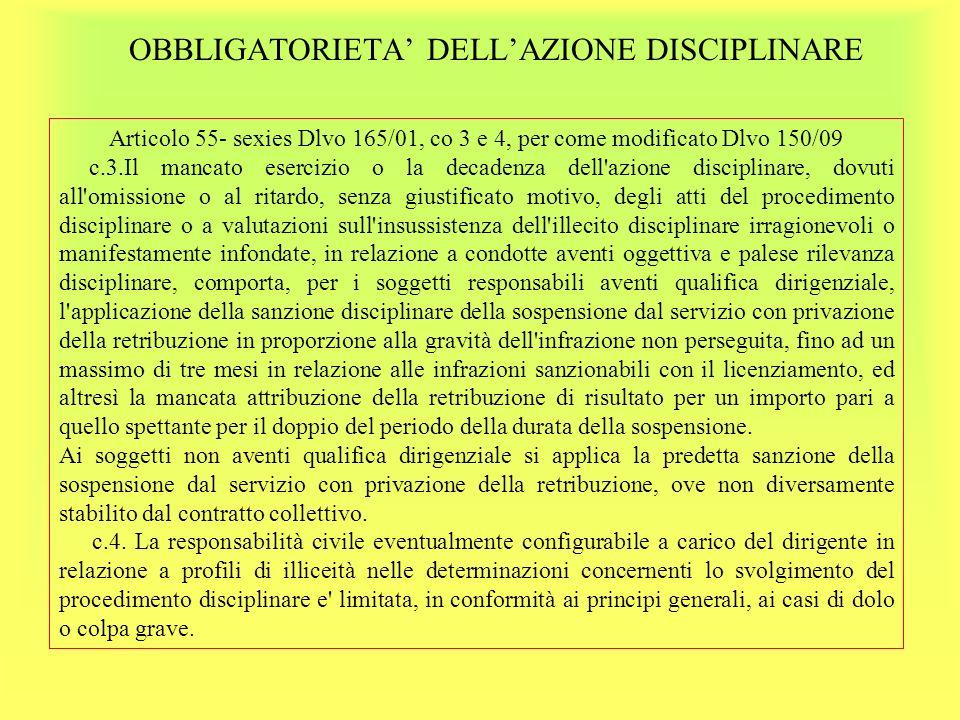 OBBLIGATORIETA' DELL'AZIONE DISCIPLINARE