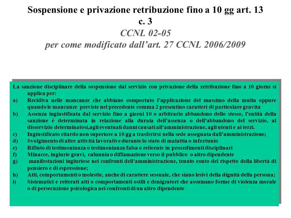 Sospensione e privazione retribuzione fino a 10 gg art. 13 c