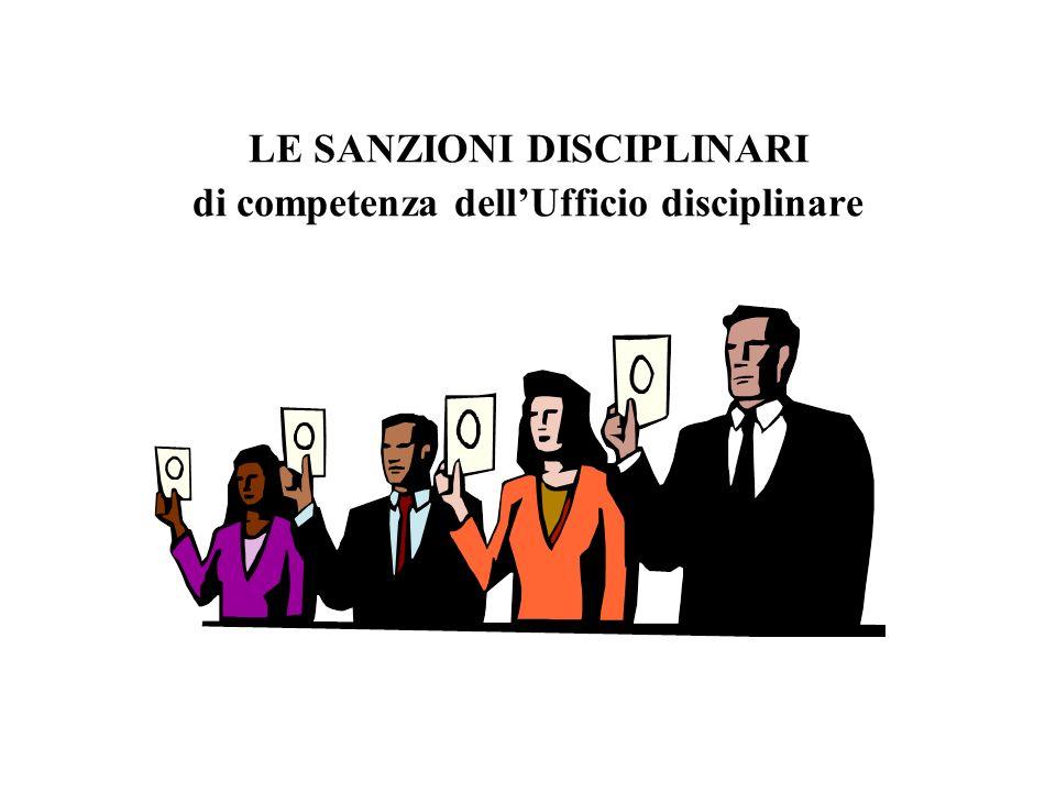 LE SANZIONI DISCIPLINARI di competenza dell'Ufficio disciplinare