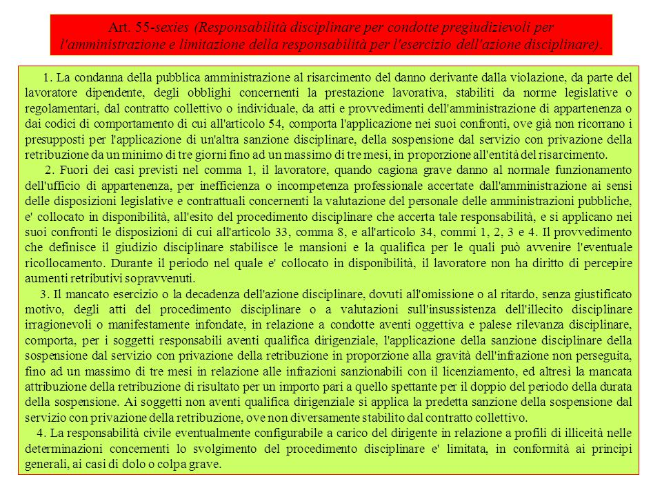 Art. 55-sexies (Responsabilità disciplinare per condotte pregiudizievoli per l amministrazione e limitazione della responsabilità per l esercizio dell azione disciplinare).