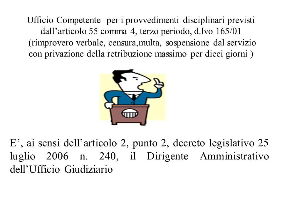 Ufficio Competente per i provvedimenti disciplinari previsti dall'articolo 55 comma 4, terzo periodo, d.lvo 165/01 (rimprovero verbale, censura,multa, sospensione dal servizio con privazione della retribuzione massimo per dieci giorni )