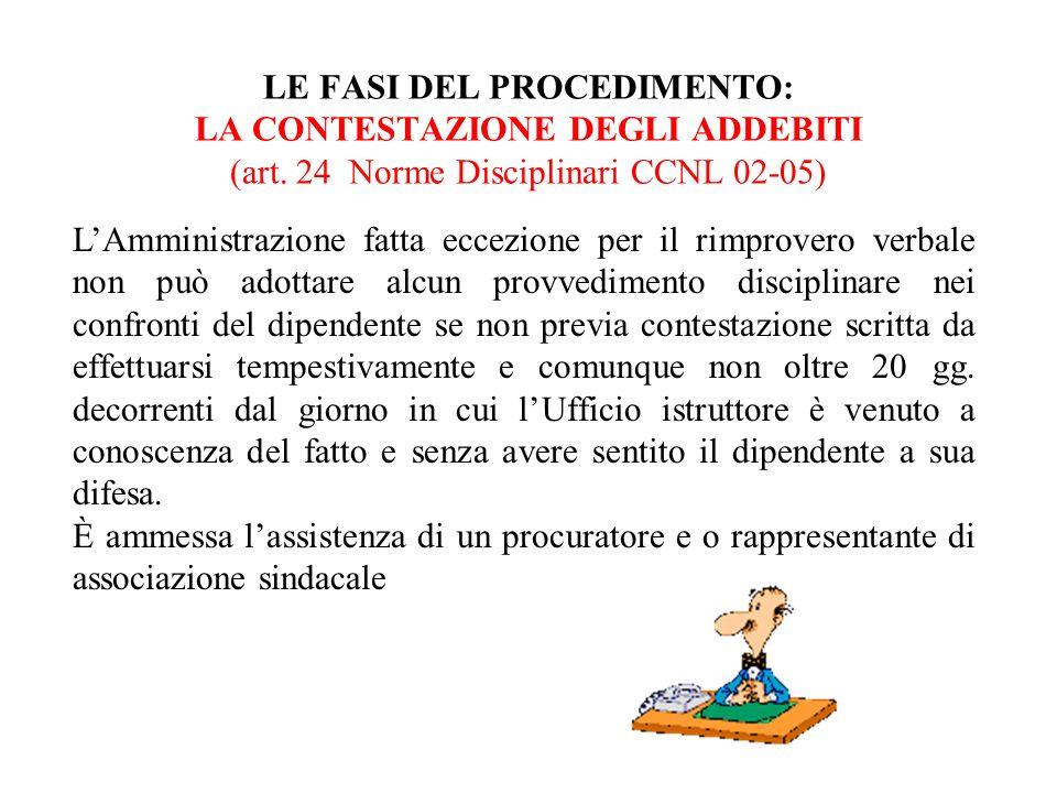 LE FASI DEL PROCEDIMENTO: LA CONTESTAZIONE DEGLI ADDEBITI (art