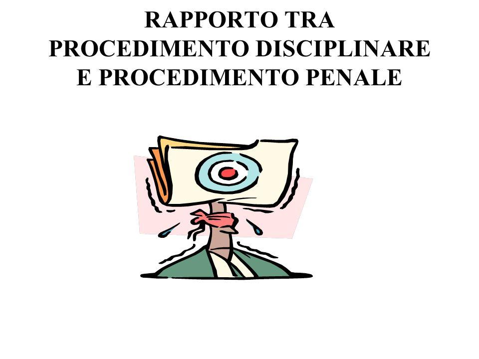 RAPPORTO TRA PROCEDIMENTO DISCIPLINARE E PROCEDIMENTO PENALE