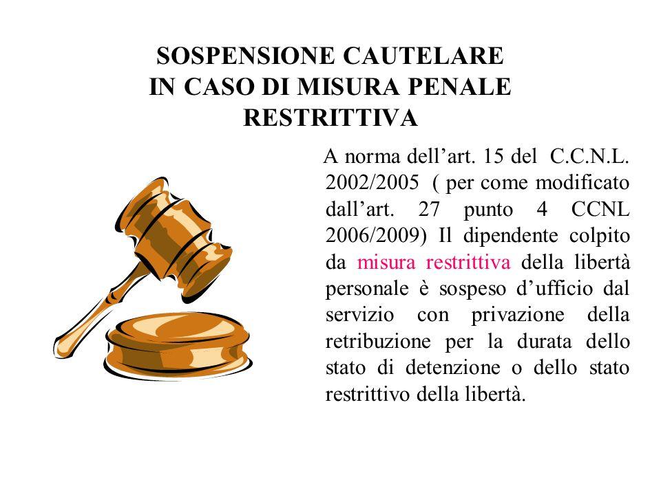 SOSPENSIONE CAUTELARE IN CASO DI MISURA PENALE RESTRITTIVA