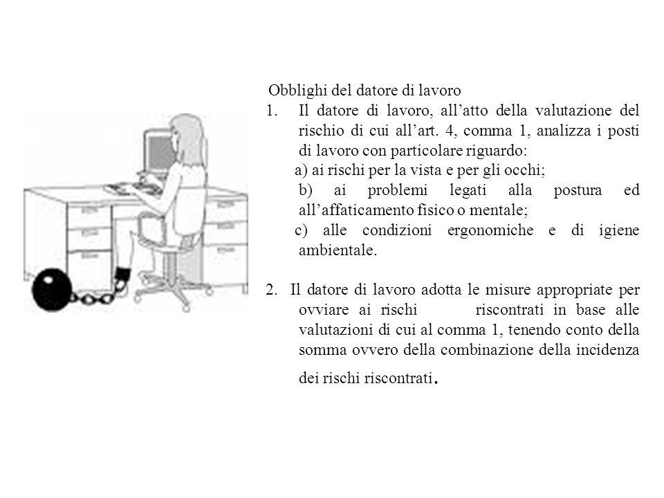 a) ai rischi per la vista e per gli occhi;