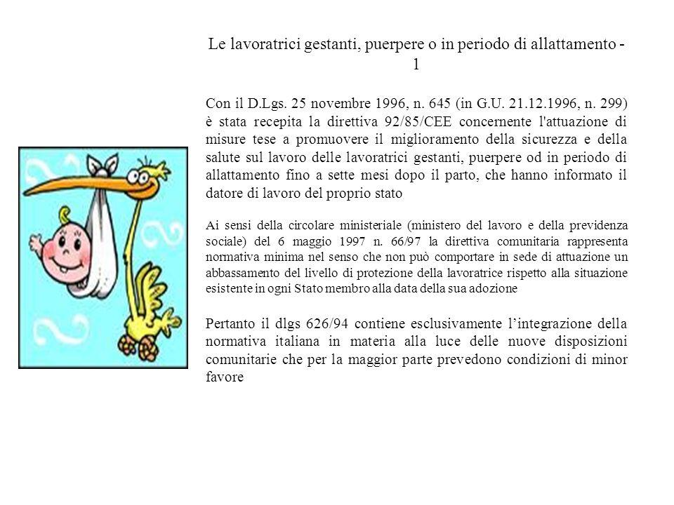 Le lavoratrici gestanti, puerpere o in periodo di allattamento - 1