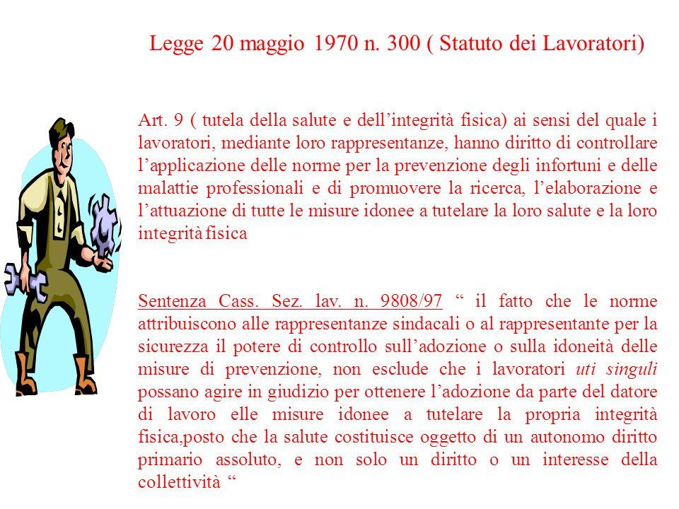 Legge 20 maggio 1970 n. 300 ( Statuto dei Lavoratori)