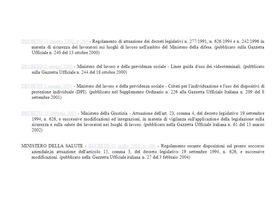 DECRETO 14 giugno 2000, n .284 - Regolamento di attuazione dei decreti legislativi n. 277/1991, n. 626/1994 e n. 242/1996 in materia di sicurezza dei lavoratori sui luoghi di lavoro nell ambito del Ministero della difesa. (pubblicato sulla Gazzetta Ufficiale n. 240 del 13 ottobre 2000)