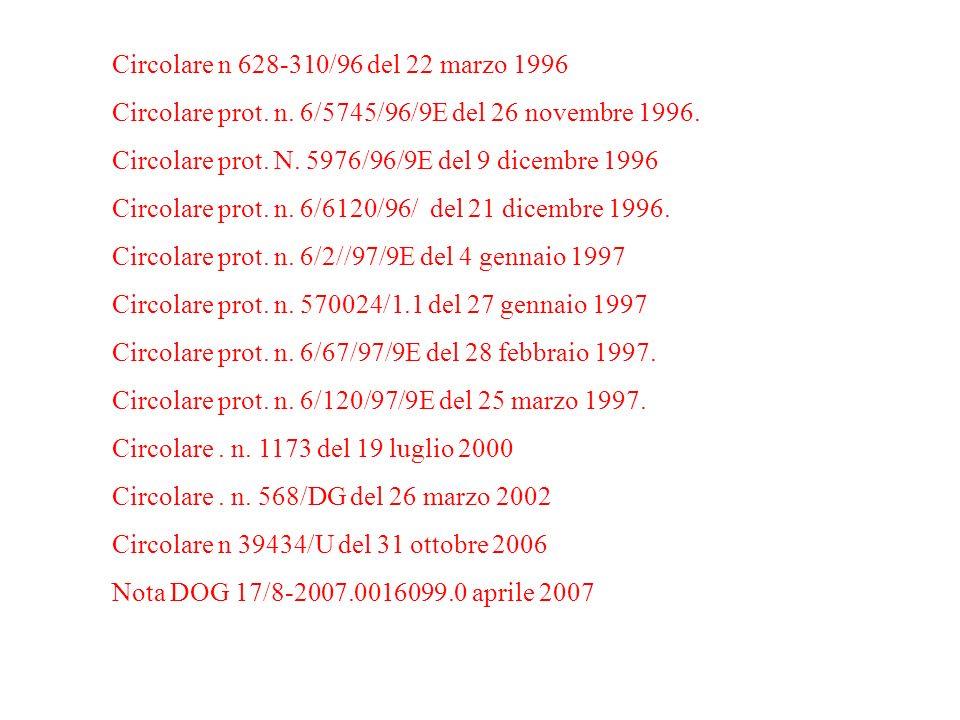Circolare n 628-310/96 del 22 marzo 1996