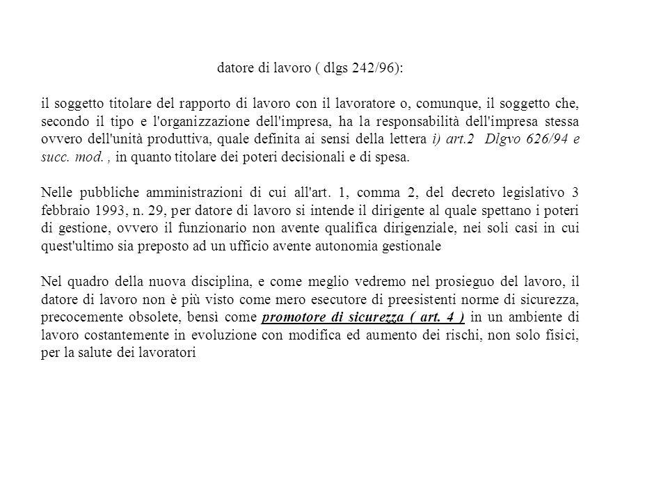 datore di lavoro ( dlgs 242/96):