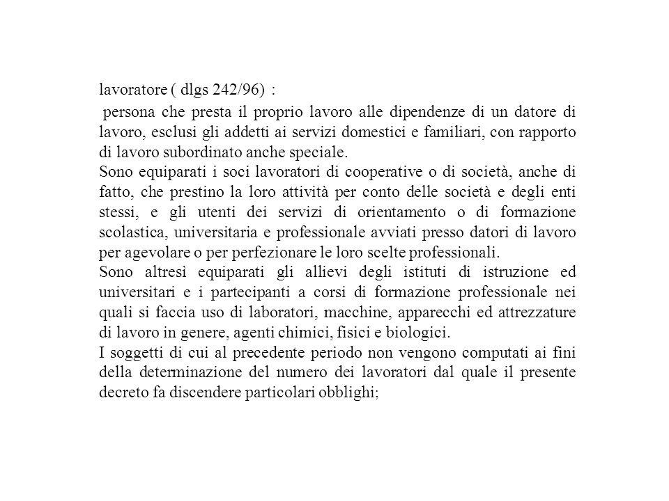 lavoratore ( dlgs 242/96) :