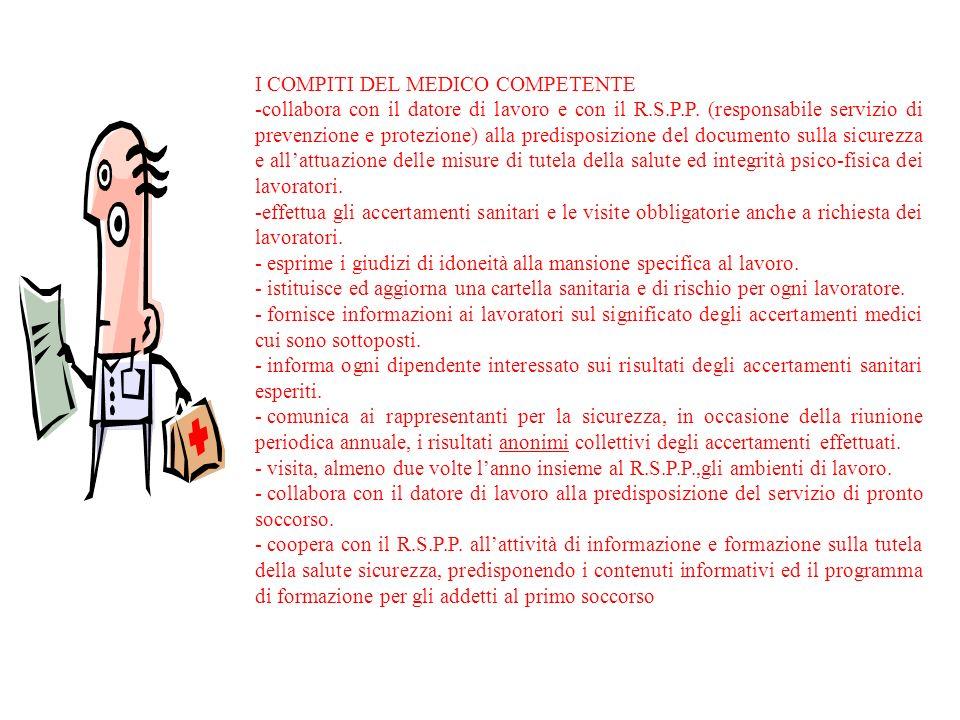 I COMPITI DEL MEDICO COMPETENTE