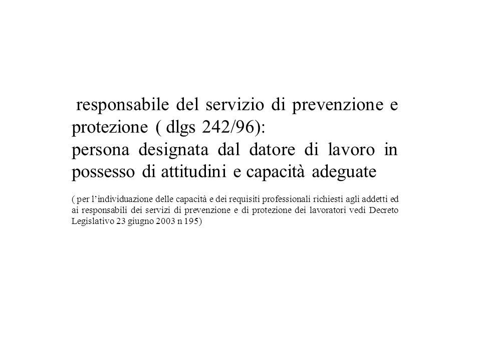 responsabile del servizio di prevenzione e protezione ( dlgs 242/96):