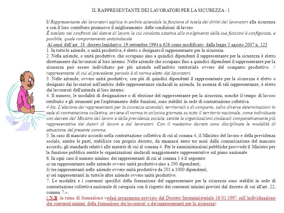 IL RAPPRESENTANTE DEI LAVORATORI PER LA SICUREZZA - 1