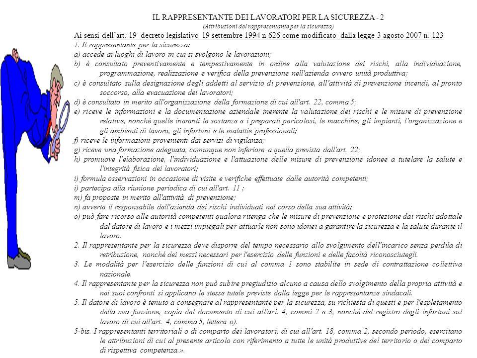 IL RAPPRESENTANTE DEI LAVORATORI PER LA SICUREZZA - 2