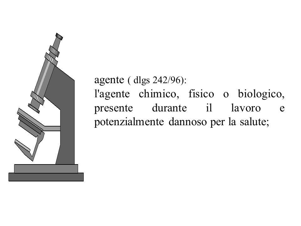 agente ( dlgs 242/96): l agente chimico, fisico o biologico, presente durante il lavoro e potenzialmente dannoso per la salute;