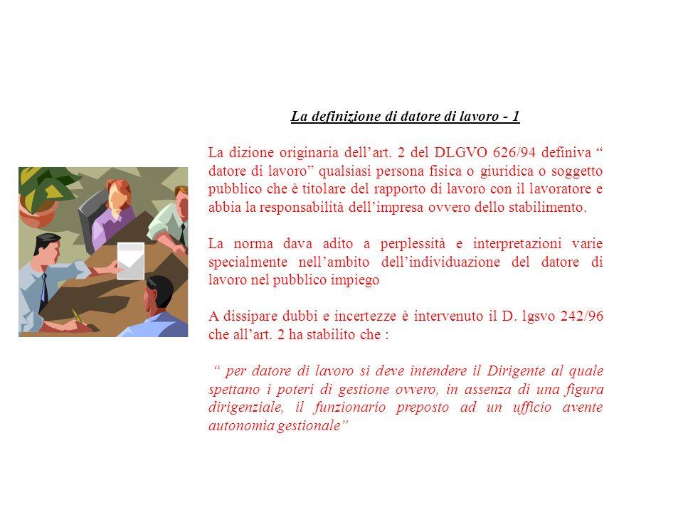 La definizione di datore di lavoro - 1
