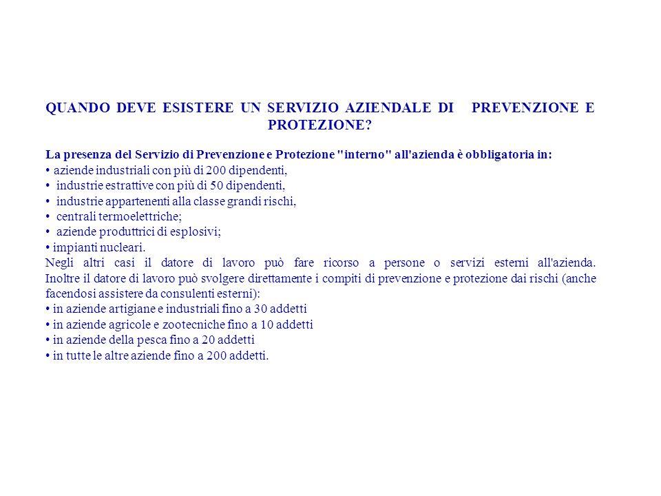 QUANDO DEVE ESISTERE UN SERVIZIO AZIENDALE DI PREVENZIONE E PROTEZIONE