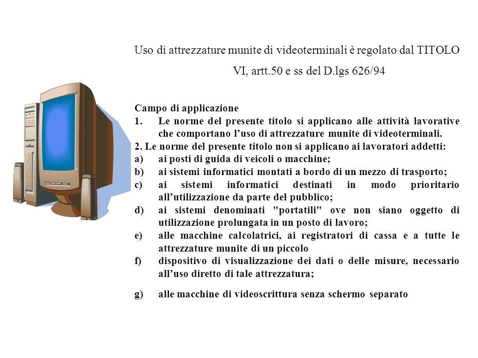 Uso di attrezzature munite di videoterminali è regolato dal TITOLO VI, artt.50 e ss del D.lgs 626/94