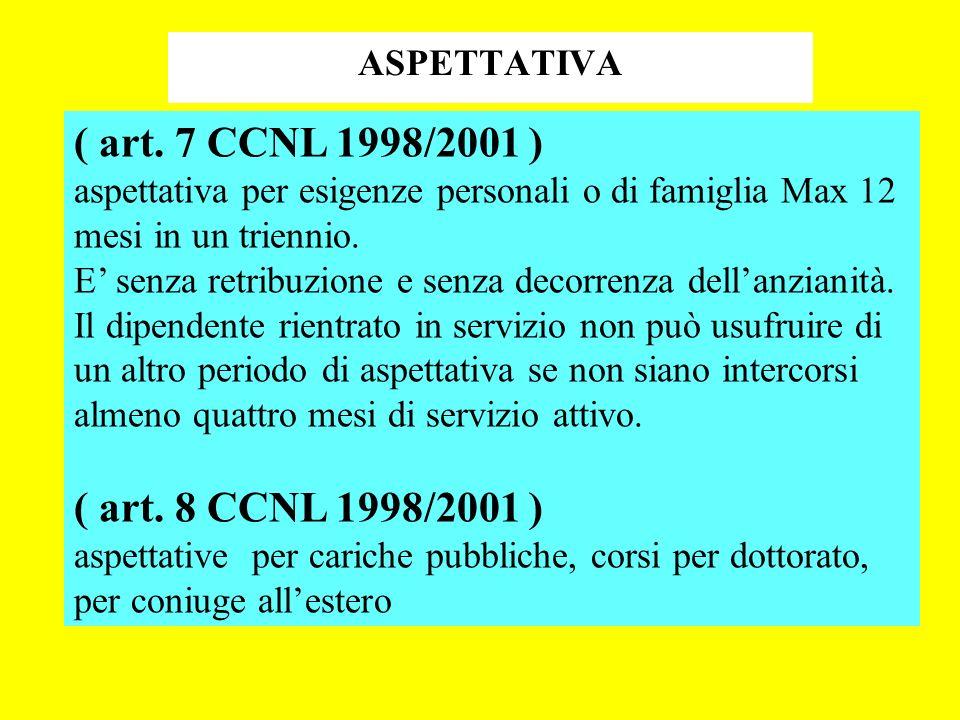 ( art. 7 CCNL 1998/2001 ) ( art. 8 CCNL 1998/2001 ) ASPETTATIVA