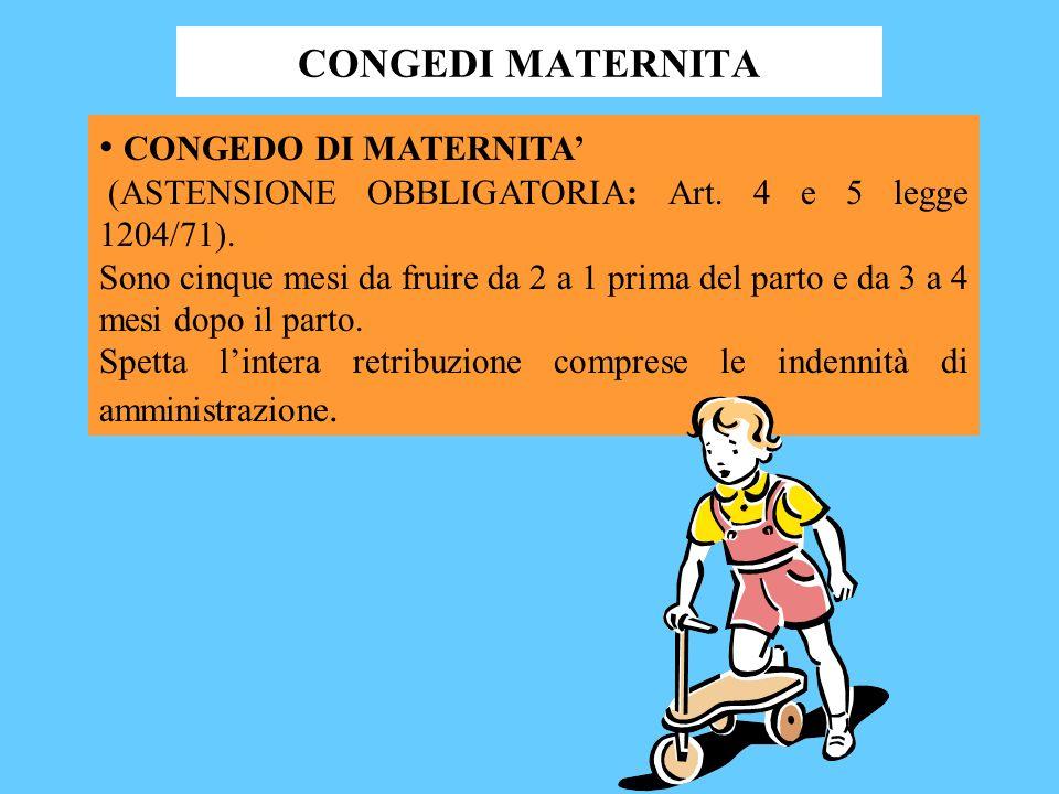 CONGEDI MATERNITA CONGEDO DI MATERNITA'