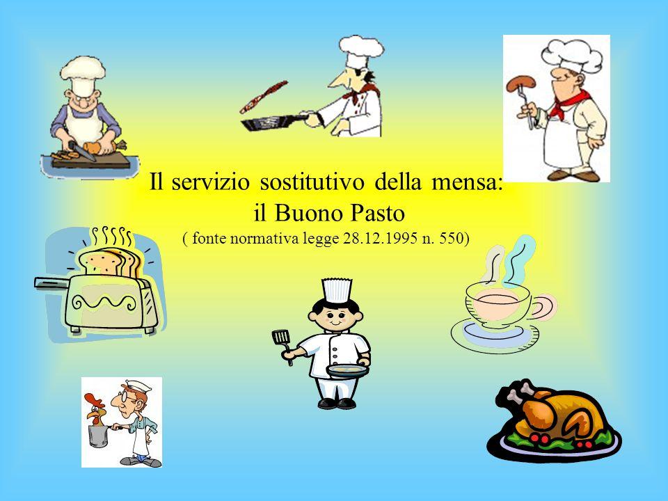 Il servizio sostitutivo della mensa: il Buono Pasto ( fonte normativa legge 28.12.1995 n. 550)