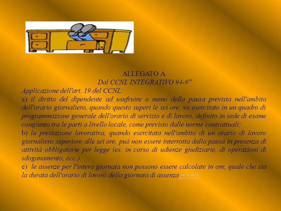 ALLEGATO A Dal CCNL INTEGRATIVO 94-97. Applicazione dell art. 19 del CCNL: