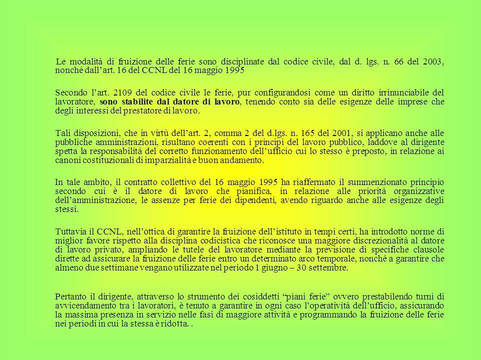 Le modalità di fruizione delle ferie sono disciplinate dal codice civile, dal d. lgs. n. 66 del 2003, nonché dall'art. 16 del CCNL del 16 maggio 1995