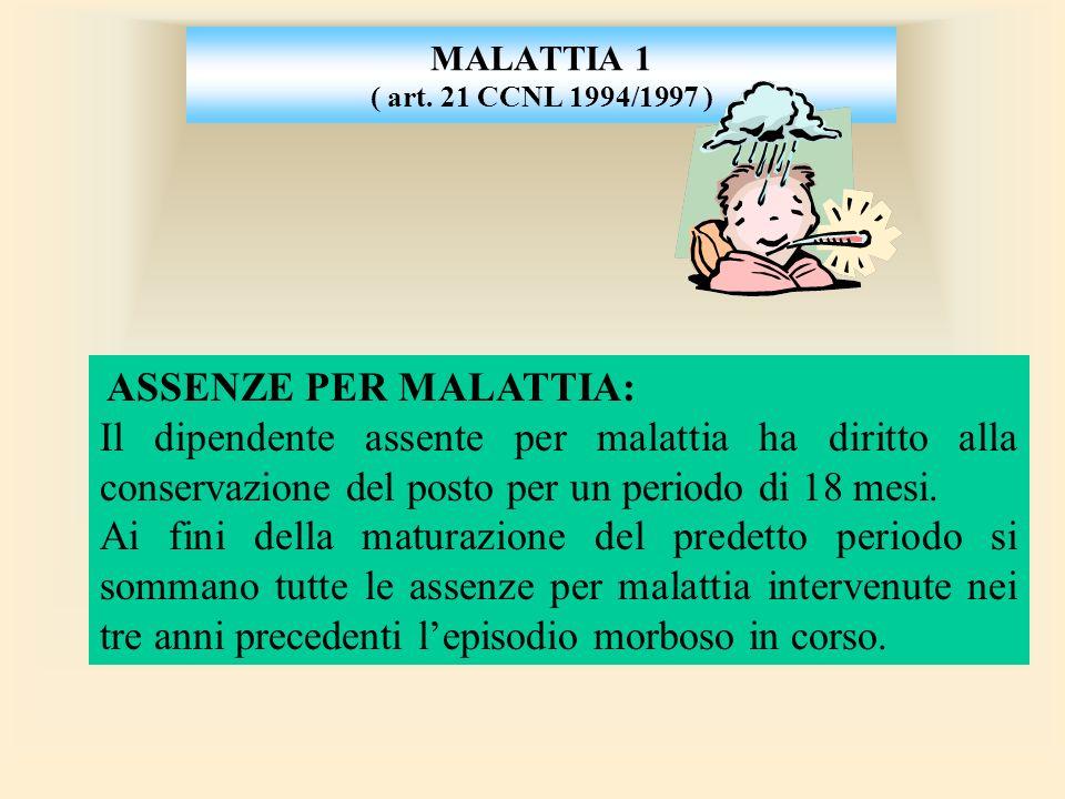 MALATTIA 1 ( art. 21 CCNL 1994/1997 ) ASSENZE PER MALATTIA: