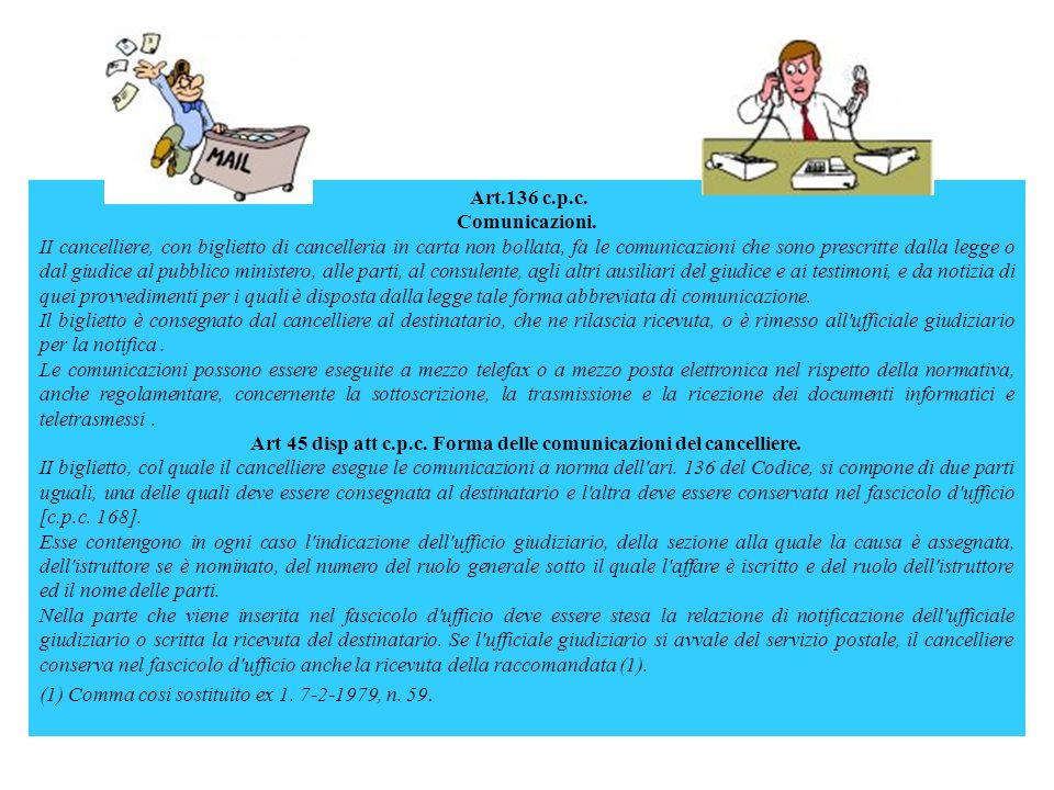 Art 45 disp att c.p.c. Forma delle comunicazioni del cancelliere.