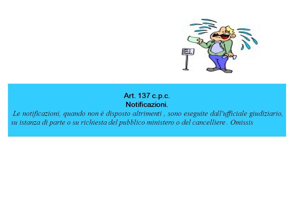 Art. 137 c.p.c. Notificazioni.